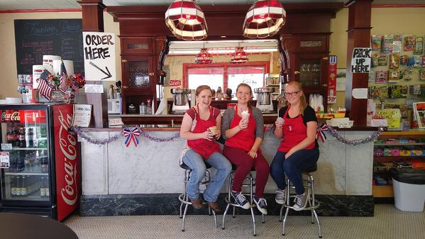 Staff at the soda fountain